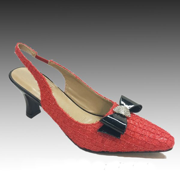 "H135 ASTRA-R ( Shimmer Tweed Slingbacks w Patent Trim With Comfort Cushion And 2.75"" Heel )"