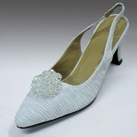 H84-WHT-CO Pleated Satin Slingback With Crystal Beaded Bird Nest Applique And Comfort Cushion, 1.5 Inch Heel