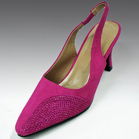 """H87-FU-CO ( Faux Suede Jewel Crescent Slingback With Comfort Cushion And 2.75"""" Heel )"""