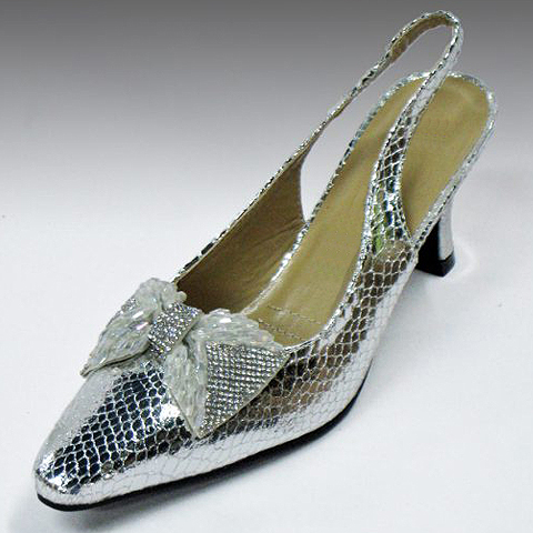 H127-SIL-CO Metallic Python Embossed Sling Back Pump With Crystal Beaded Bow And Comfort Cushion, 1.5 Inch Heel