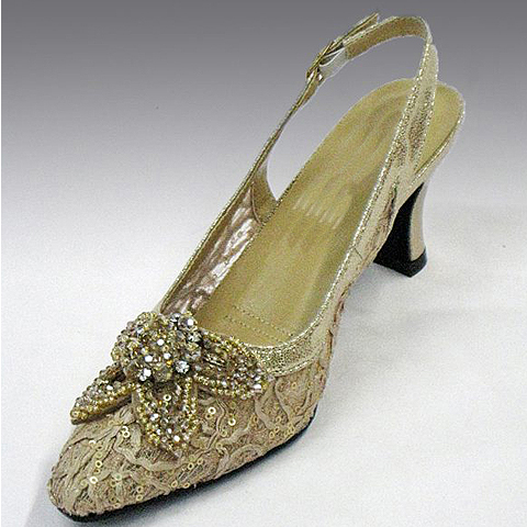 """H73-TA-CO ( Embroidered and Sequin Embellished Lace Slingback With Beaded Starfish Motif With Comfort Cushion And 2.75"""" Heel )"""