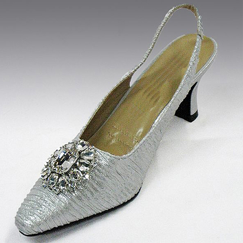 "H76-SI-CO ( Fortuny Fabric Slingback With Oversized Rhinestone Brooch With Comfort Cushion And 2.75"" Heel )"