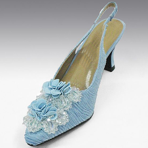 H52C-LB-CO Textured Silk Slingback With A Fabric And Jeweled Ornament And Comfort Cushion, 1.5 Inch Heel