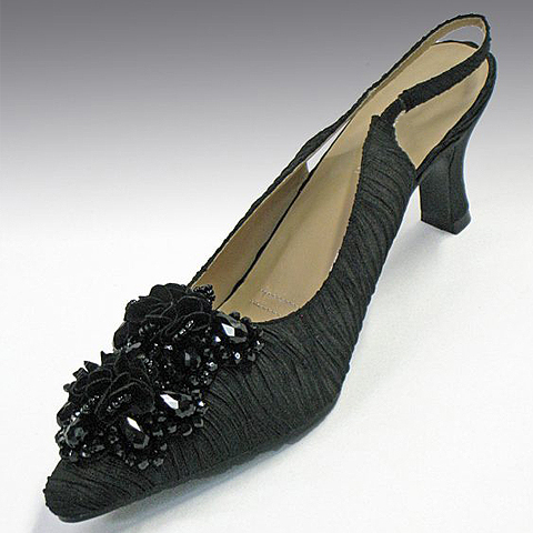 "H52C-BLK-CO ( Crystal Embellished Pleated Fabric Slingback With Comfort Cushion And 2.75"" Heel )"