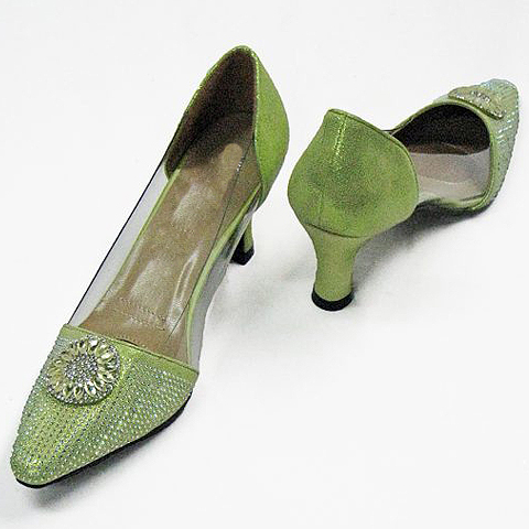 """H96-LI-CO ( Crystal Embellished Illusion Pumps With Comfort Cushion And 2.75"""" Heel )"""