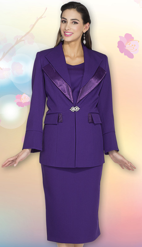 Aussie Austine Church And Choir Uniform 12427-PU ( 2pc Renova Jacket And Skirt Womens Suit )