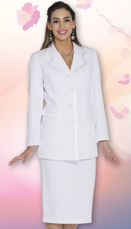 Aussie Austine Church And Choir Uniform 11809-WH ( 2pc Renova Jacket And Skirt Womens Suit )