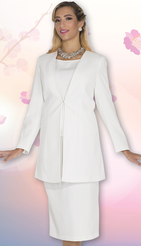 Aussie Austine Uniform 11812-WH ( 3pc Renova Jacket, Vest And Skirt Womens Suit For Church And Choir )