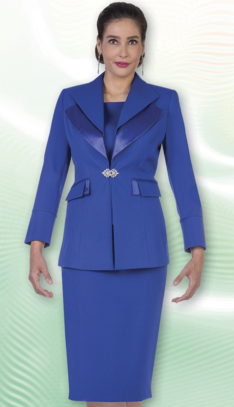 Aussie Austine Church And Choir Uniform 12427-BLU ( 2pc Renova Jacket And Skirt Womens Suit )
