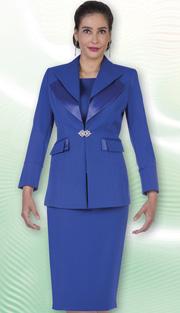 Aussie Austine Church And Choir Uniform 12427-BLU ( 2pc Renova Jacket And Skirt Womens Suit )