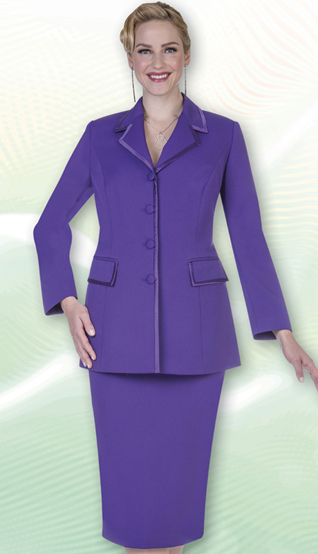 Aussie Austine Church And Choir Uniform 11809-PUR ( 2pc Renova Jacket And Skirt Womens Suit )