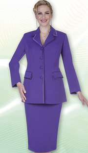 Aussie Austine Church And Choir Uniform 11809-PUR ( 2pc Renova Jacket And Skirt Womens Suit )