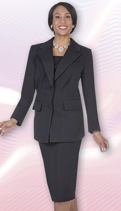 Aussie Austine Church And Choir Uniform 12442-BLK ( 2pc Renova Jacket And Skirt Womens Suit )
