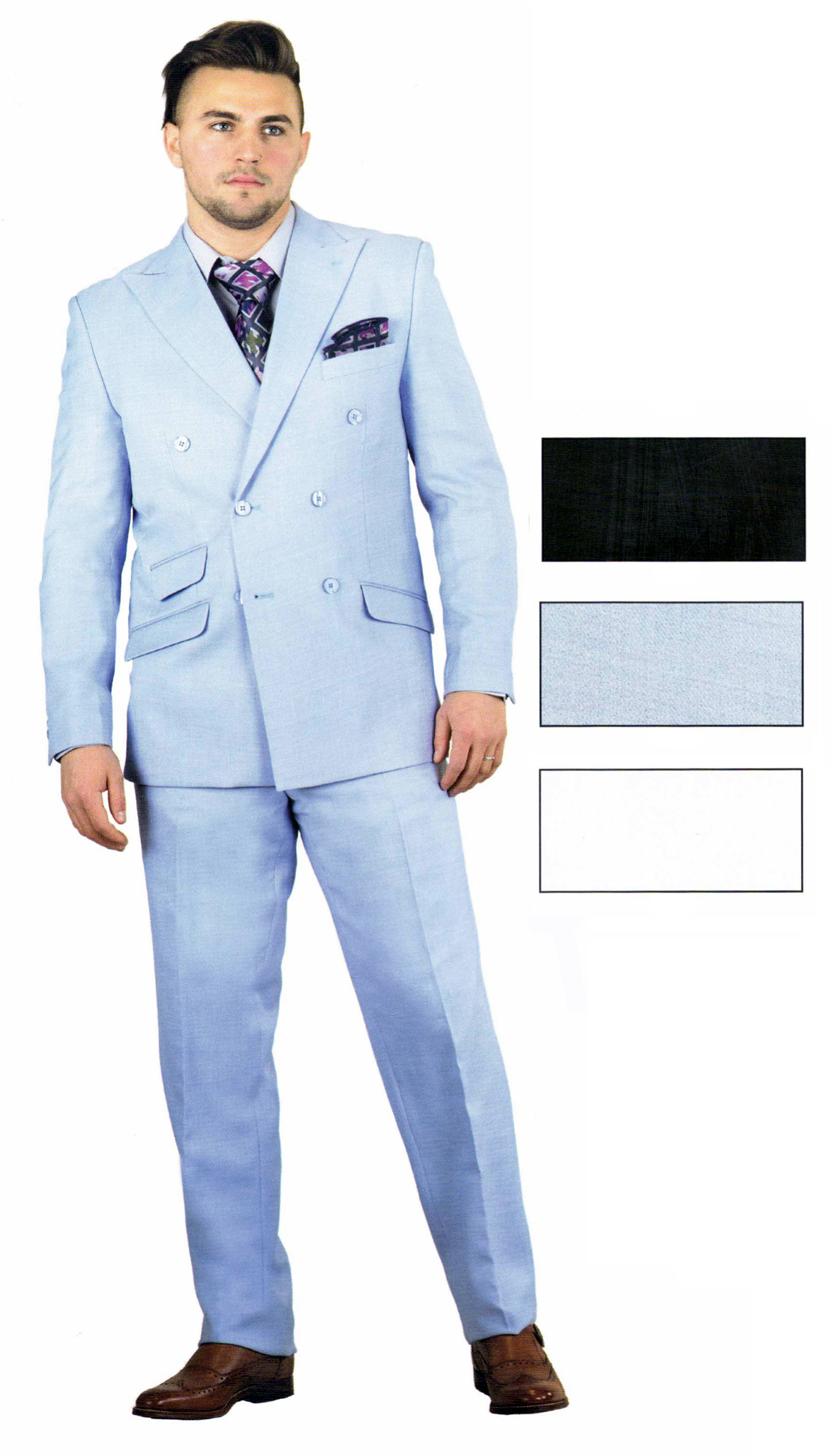 ST9038-CO ( 2pc Double Breasted Six Button Peak Lapel Jacket, Flat Front Pants )