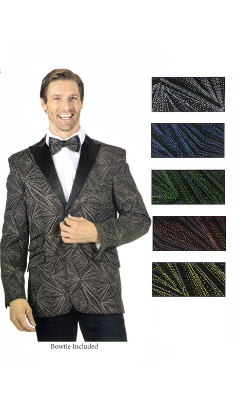 ST8018 ( 1pc Geometric Sparkle Single Breasted Two Button Peak Lapel Party Sport Coat )