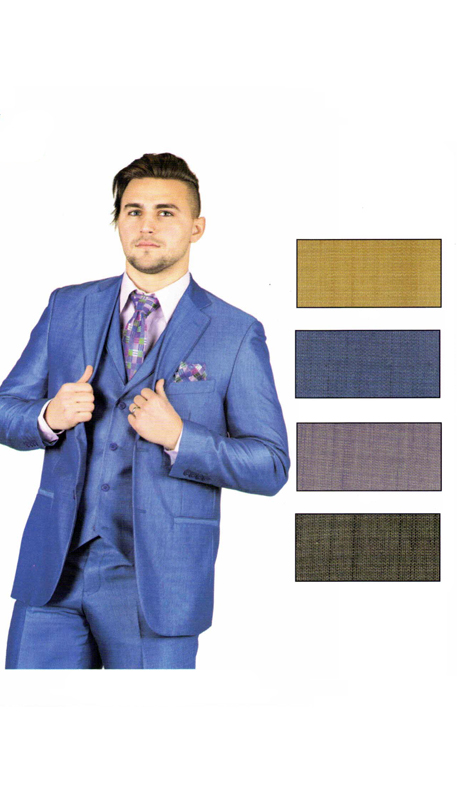 ST5910 ( 3pc Suit, Single Breasted Jacket And Vest, Flat Front Half Lined Expandable Waist Pants, Super 140's )