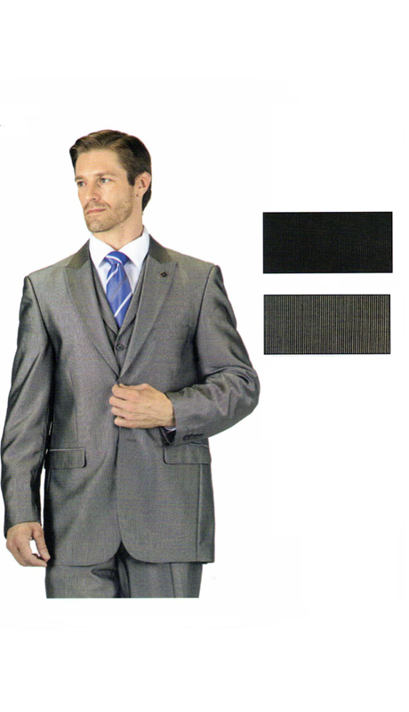 ST5284 ( 3pc Shark Skin Suit, Single Breasted Jacket And Vest, Flat Front Expandable Waist Pants )
