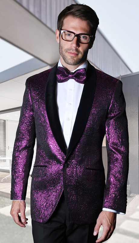 VJ-113-FU ( 1pc Mens Statement Sport Coat With Velvet Lapel And Free Matching Bow Tie, Super 150's )