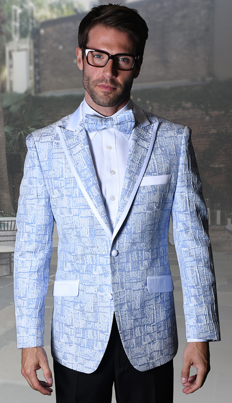 VJ-112-BL ( 1pc Statement Mens Fancy Single Jacket With Free Matching Bow Tie, Super 150's )