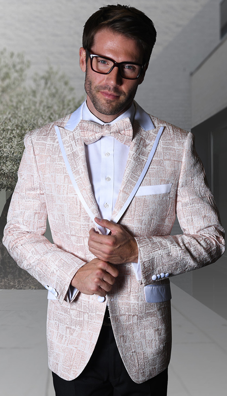 VJ-112-RO ( 1pc Statement Mens Fancy Single Jacket With Free Matching Bow Tie )