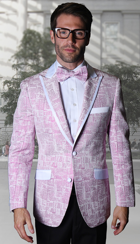VJ-112-PI ( 1pc Statement Mens Fancy Single Jacket With Free Matching Bow Tie, Super 150's )