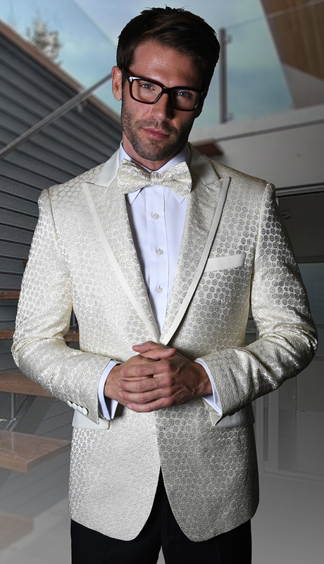 VJ-111-OW ( 1pc Statement Mens Fancy Single Jacket With Free Matching Bow Tie, Super 150's )