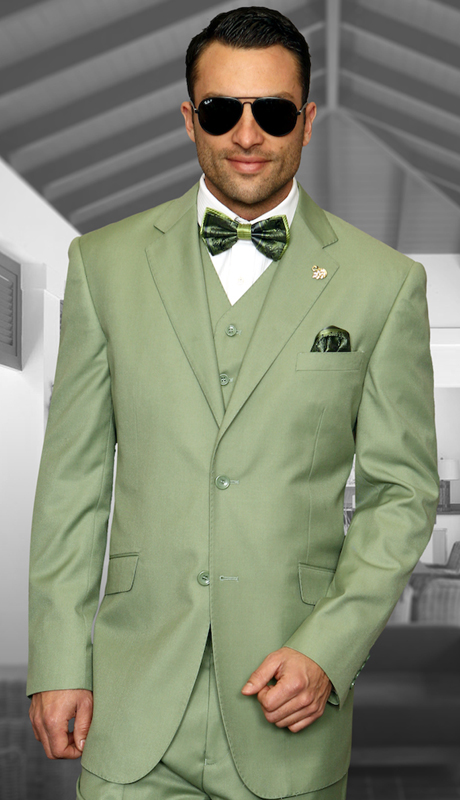 TZ-100-AG ( 3pc Mens Statement Suit With Pleated Pants, Super 150's )