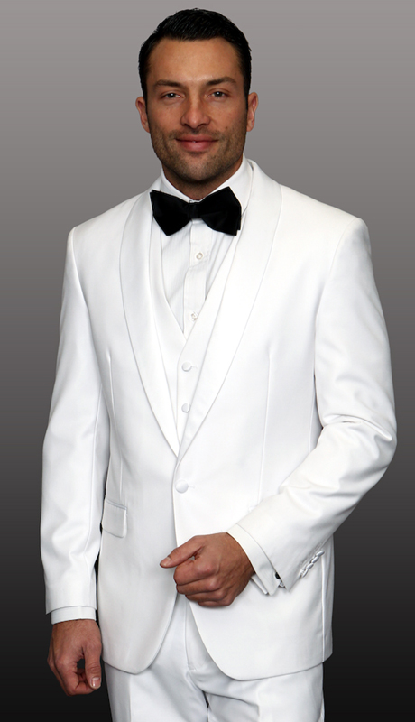 TUX-SH-WH ( 3pc Mens Statement Tuxedo With Shawl, Flat Front Pants With Matching Bow Tie, Super 150's )