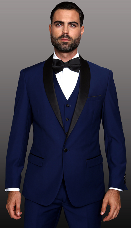 TUX-SH-SA ( 3pc Mens Statement Tuxedo With Shawl, Flat Front Pants, Super 150's )