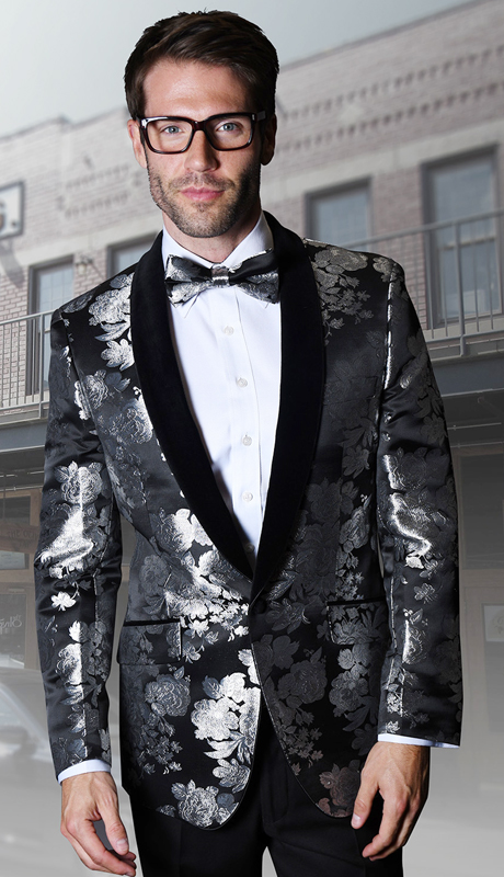 VJ-115-BK ( 1pc Mens Statement Sport Coat With Velvet Lapel And Free Matching Bow Tie, Super 150's )