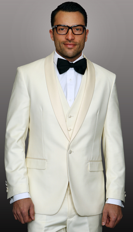 TUX-SH-OW ( 3pc Mens Statement Tuxedo With Shawl, Flat Front Pants, Super 150's )