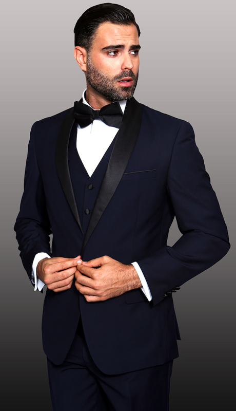 TUX-SH-NA ( 3pc Mens Statement Tuxedo With Shawl, Flat Front Pants With Matching Bow Tie, Super 150's )