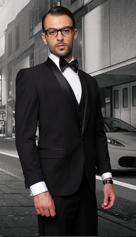 TUX-SH-BK ( 3pc Mens Statement Tuxedo With Shawl, Flat Front Pants, Super 150's )