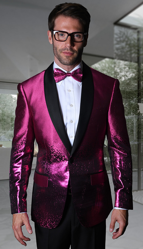 VJ-111-FU ( 1pc Statement Mens Fancy Single Jacket With Free Matching Bow Tie, Super 150's )