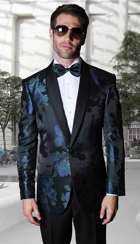 VJ-110-NA ( 1pc Statement Mens Fancy Single Jacket With Free Matching Bow Tie, Super 150's )