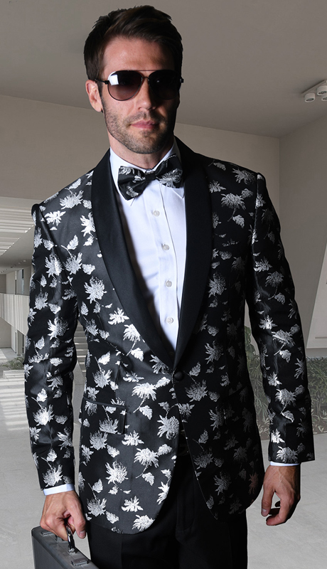 PJ-109-BS ( 1pc Statement Mens Fancy Single Jacket With Free Matching Bow Tie, Super 150's )