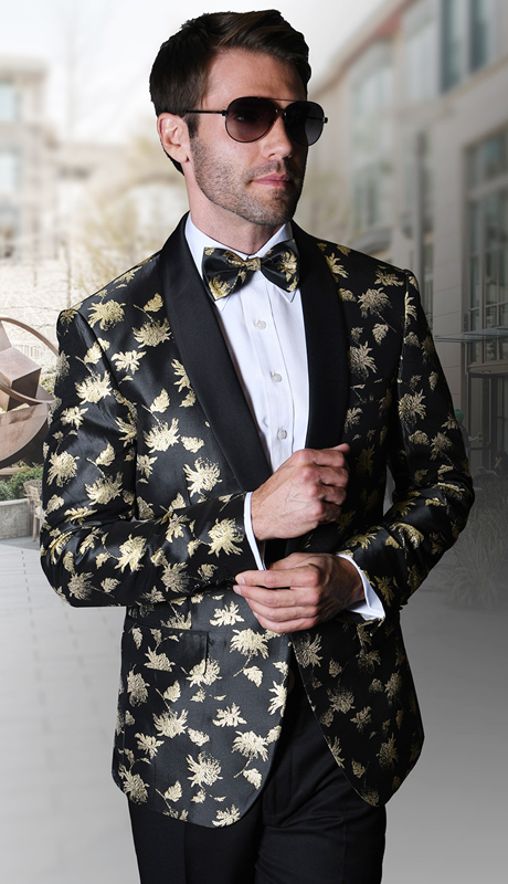 PJ-109-BG ( 1pc Statement Mens Fancy Single Jacket With Free Matching Bow Tie, Super 150's )