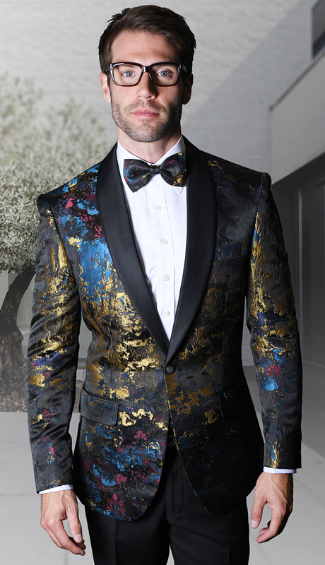 PJ-108-BL ( 1pc Statement Mens Fancy Single Jacket With Free Matching Bow Tie, Super 150's )