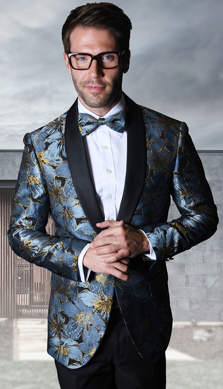 VJ-107-BL ( 1pc Mens Statement Sport Coat With Velvet Lapel And Free Matching Bow Tie, Super 150's )
