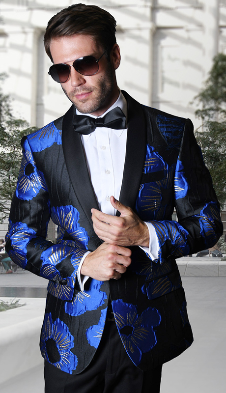 PJ-104-RO ( 1pc Statement Mens Fancy Single Jacket With Free Matching Bow Tie, Super 150's )