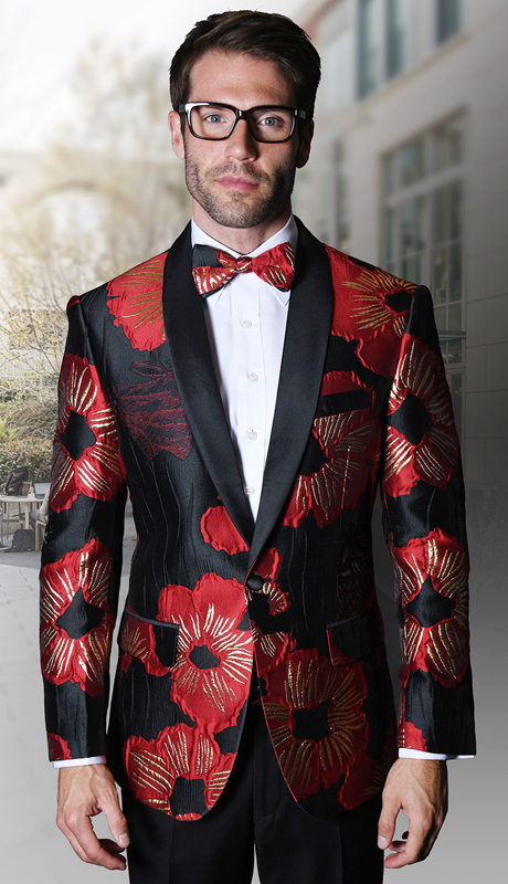 PJ-104-RE ( 1pc Statement Mens Fancy Single Jacket With Free Matching Bow Tie, Super 150's )