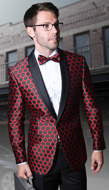 PJ-103-RE ( 1pc Statement Mens Fancy Single Jacket With Free Matching Bow Tie, Super 150's )