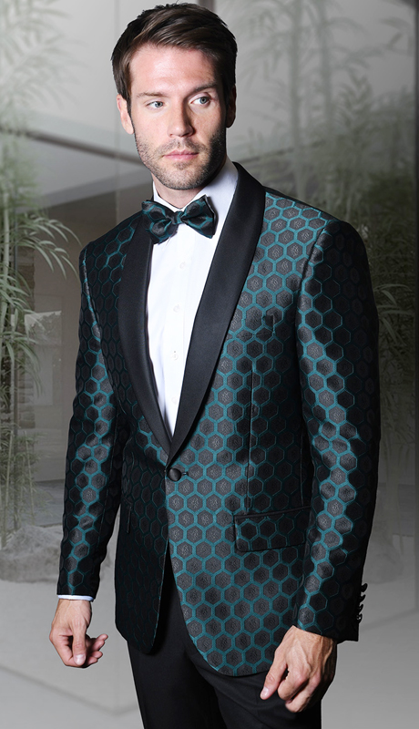 PJ-103-GN ( 1pc Statement Mens Fancy Single Jacket With Free Matching Bow Tie, Super 150's )