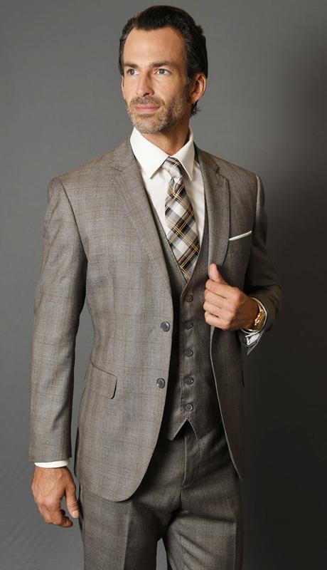 MANTUA-6-TA ( 3pc Mens Plaid Statement Suit With Flat Front Pants, Super 150's )