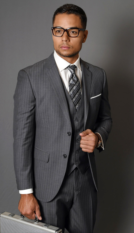 MANTUA-5-CH ( 3pc Mens Statement Pinstripe Suit With Flat Front Pants, Super 150's )