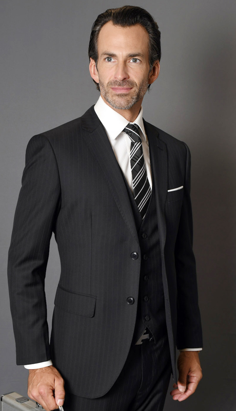MANTUA-5-BK ( 3pc Mens Statement Pinstripe Suit With Flat Front Pants, Super 150's )