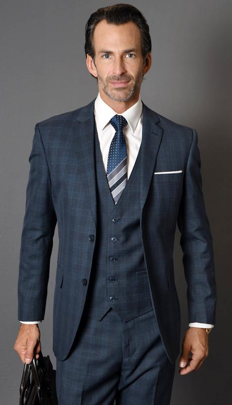 MANTUA-4-NA ( 3pc Mens Plaid Statement Suit With Flat Front Pants, Super 150's )