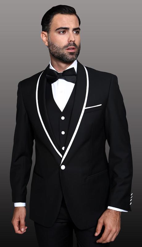 GENOVA-BK ( 4pc Mens Statement Suit, White Trim On Shawl Lapel With Free Matchimg Bow Tie, Super 150's )