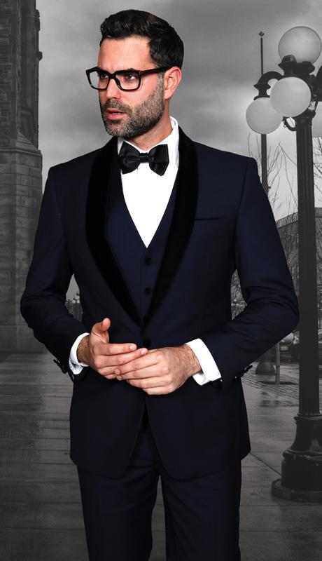 ENCORE-5-NA ( 4pc Mens Statement Suit Flat Front Pants, Black Velvet Shawl Lapel, Super 150's, Includes Free Matching Velvet Bow Tie )