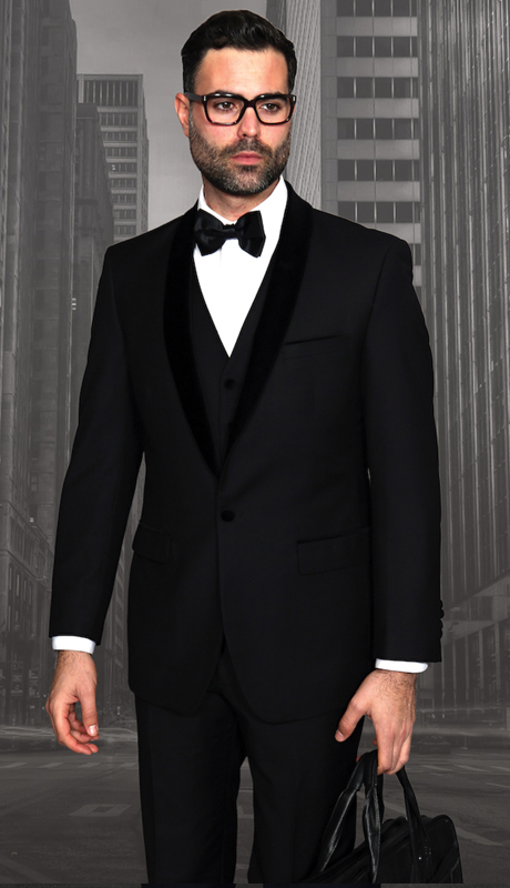 ENCORE-5-BK ( 4pc Mens Statement Suit Flat Front Pants, Black Velvet Shawl Lapel, Super 150's, Includes Free Matching Velvet Bow Tie )
